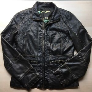 Big Chill Vintage Faux Leather Jacket, ZIP